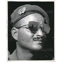 1960 Press Photo Moroccan Officer Waits for Plane Mirrored in His Glasses