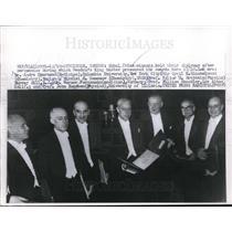 1956 Press Photo Nobel Prize Winners Holding Diplomas King Gustav Presented