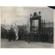 1924 Press Photo Japanese mob of protestors at Palace in Toyko