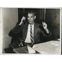1933 Press Photo Louis Hyman, pres. of Needle Traders Union - neb73276