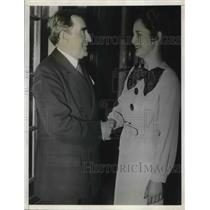 1935 Press Photo Admiral Cary T Grayson Chairman Red Cross & Linnea Anderson