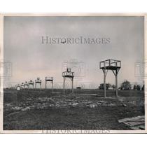 1949 Press Photo Cleveland, Ohio Municipal airport landing lights for planes