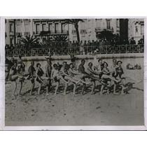 1931 Press Photo Bathers on the Beach at Nice