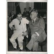 1933 Press Photo Ray Tucker Of Scripps Howard Newspapers Interviews JP Morgan
