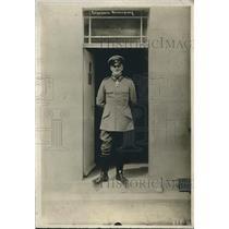 1918 Press Photo Uniformed German General Jauisus in Stands in Doorway in France