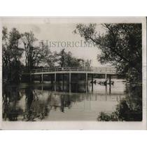 1932 Press Photo Concord  Bridge looking MA downstream 1st Battle of Revolution