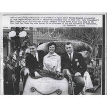 1961 Press Photo Tournament of Rose Queen Martha Sissel Rides at Disney on Float