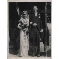 1935 Press Photo Wedding of Louise Shock and Davis Evans McGraw of Pittsburgh