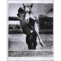 1956 Press Photo Kay Strain With Her 5 day old Shetland Pony