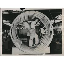 1937 Press Photo Worker build engine nacelle at Seattle Boeing