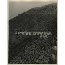 1926 Press Photo Sign For Jimmie O'Briens Bar On Slope Of Sierra Madre Mountains