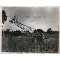 1951 Press Photo Civil AIR Authority inspectors review remains of charred plane