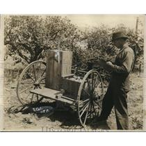1920 Press Photo Man Weighing Produce with Scales