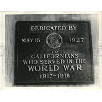 1927 Press Photo Plaque For WWII California Vets On Sequoia Tree In Santa Cruz