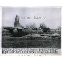 1955 Press Photo Air Force Jet, F-94 Starfire Crashed During Take Off.