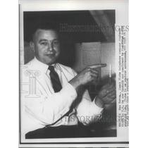 1957 Press Photo James Plate telephone company engineer in New Haven CONN