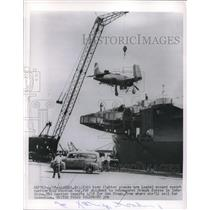 1928 Press Photo US Navy fighter planes loaded aboard carrier USS Windham Bay.