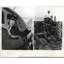 1957 Press Photo McHenry, Ill Stiles Ehipple, United Airlines pilot & farmer