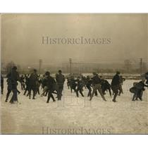 1923 Press Photo Students In Snow Ball Battle At Maryland State University