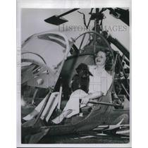 1953 Press Photo Helicopter Instructor Marilynn Riviere In Cockpit With Poodle