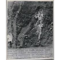 1948 Press Photo Crashing landing of plane in Puerto Rico, 18 died.