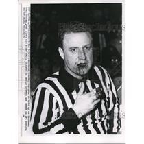 1956 Press Photo Detroit Montreal Stanley Cup Games Linesman Doug Davies