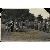 1931 Press Photo Al Smith & Natl Guard unit at Camp Smith, NY