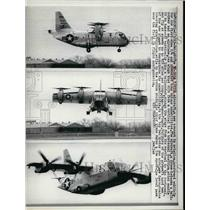 1965 Press Photo XC-142AV/STOL Aircraft demonstrate hovering over the field.