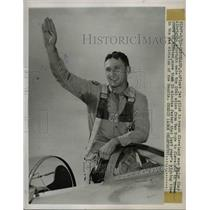 1947 Press Photo Maj.Clay Albright, first jet pilot to reach Cleveland.