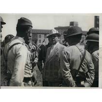 1934 Press Photo Col. John C.Hanley,command of Wisconsin Natl. Guard at Kohler.
