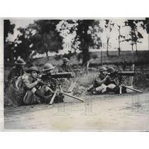 1932 Press Photo Illinois Natl. Guardsmen guarding Mine at Langleyville.