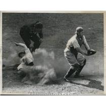 1936 Press Photo Dodgers Baseball Player Stripp Slides Home On Hassett