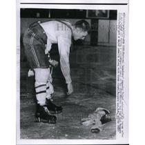 1957 Press Photo Jean Guy Talbot, Montreal Canadians Vs. New York Rangers