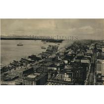 1923 Press Photo Seattle Harbor, Olympic Mountains, Washington
