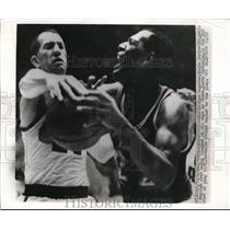 1966 Press Photo NBA LA Player Eglin Baylor Fouled By Phillys Larry Costello