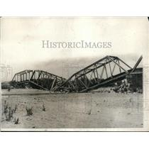 1924 Press Photo Mexican Bridge Dynamited by rebels