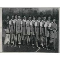 1934 Press Photo Bryn Mayr college Hockey team, Eleanor Smith, Caroline Brown,