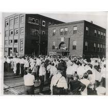 1934 Press Photo General Tire Company Plant Akron Ohio Union Strikes