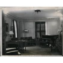 1934 Press Photo View of Living Room Senaca Hotel Where Samuel Insull Will Live