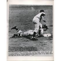 1963 Press Photo Ed Fitzgerald Nats catcher slides under the tag by Ray Boone