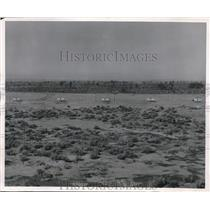 1950 Press Photo markers along the pilot ejection seat test track at Edwards AFB