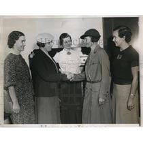 1935 Press Photo Girl Scout Head Mrs. Paul Rittenhouse, L. Smith, Mrs. Brady