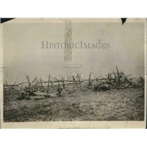 1919 Press Photo Barbed Wire to stop charges on 1st line trenches in France