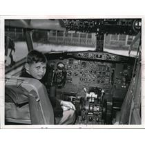 1968 Press Photo James Dombos in cockpit of a airplane