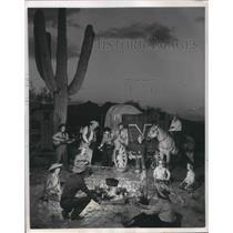 1951 Press Photo Check Wagon Brings Meals to Dude Ranchers