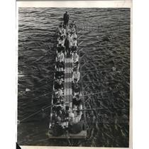 "1928 Press Photo Harvard Freshmen Rowing Crew Candidates on ""Leviathan"""