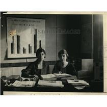 1923 Press Photo Ms. Smith and Mrs. Halsey examined volume of records