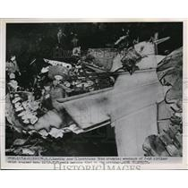 1951 Press Photo Landing Gear Protrudes From Wreckage of C-46 Airliner