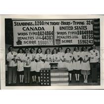 1939 Press Photo Toronto Canada Intn'l Typewriter Marathon, A Krericos,E Strong