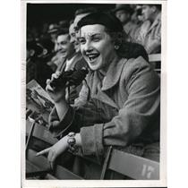 1954 Press Photo Caroline Breitbart fan at a Brown's football game